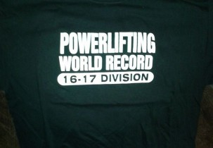 Powerlifting World Record screen printed t-shirt (Front Design)