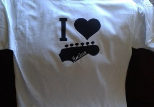 I Love Guitar screen printed t-shirt