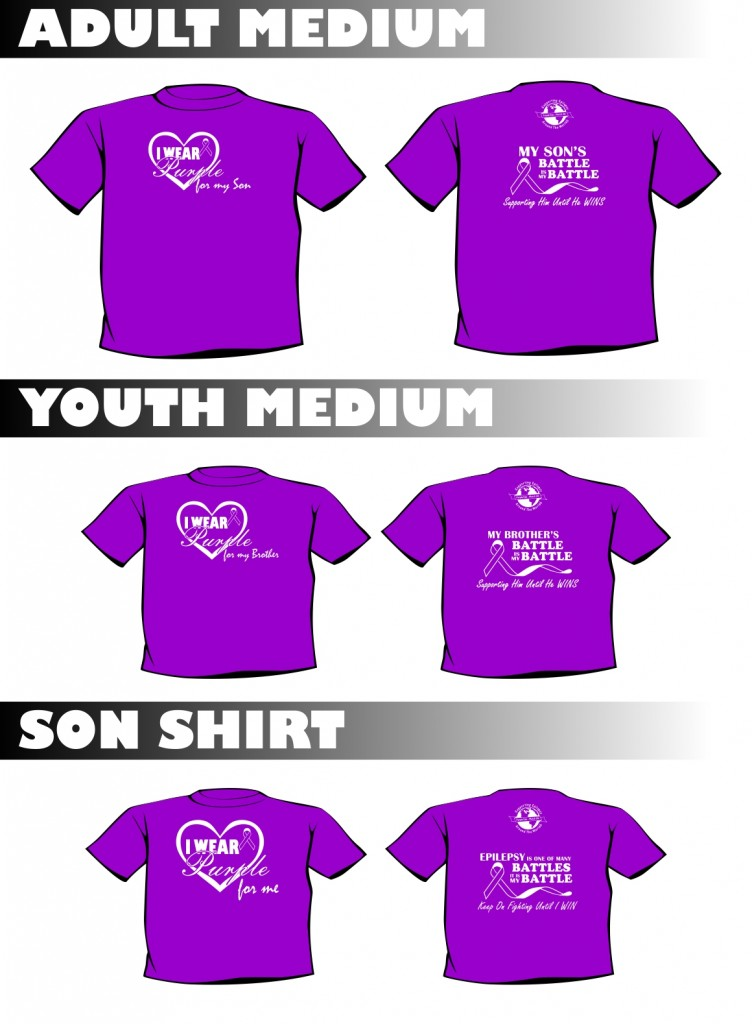 epilepsy awareness screen printed shirt mockups