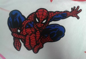 Two Color Screen Printed Spiderman Design